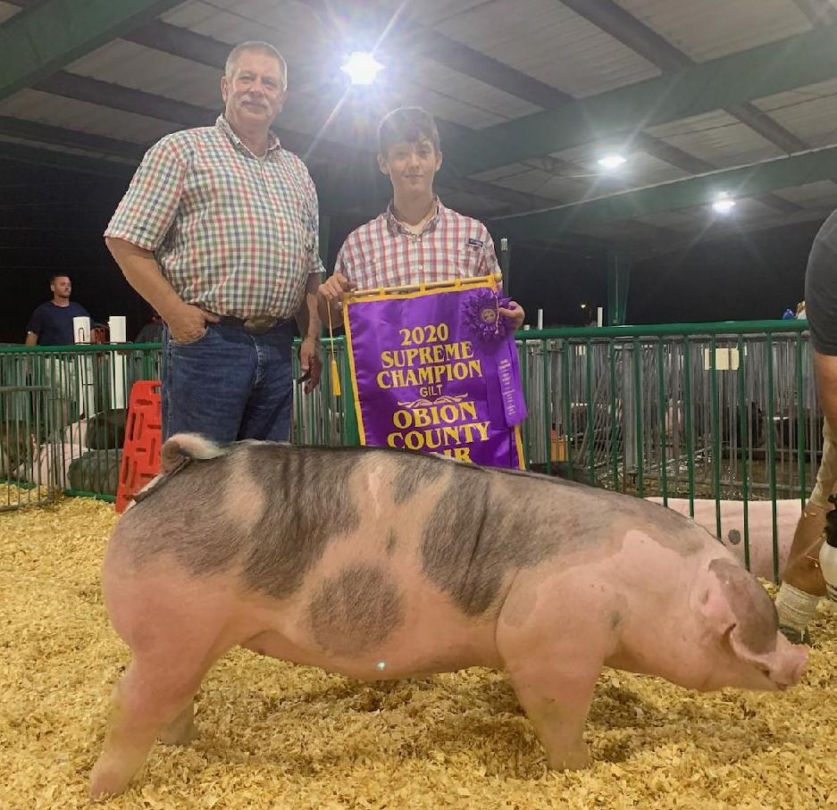 Judd Crownover 2020 Obion County Fair Champion Spot Gilt Supreme Champion Overall Gilt