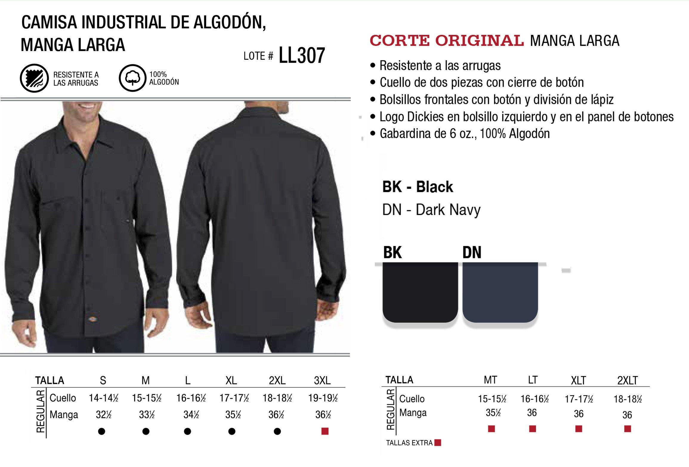 Camisa industrial de algodón. Manga Larga.  LL387