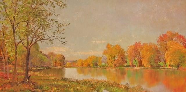 18. Autumn, Patuxent Reserve, 8x16 oil on panel