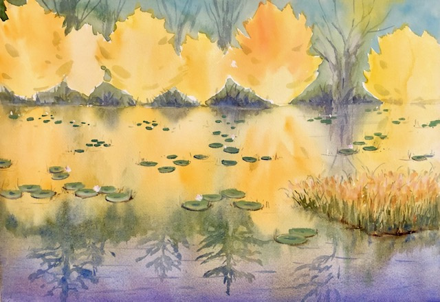 """Lily Pond Magic  Watercolor 18"""" X 13.25"""" $325."""