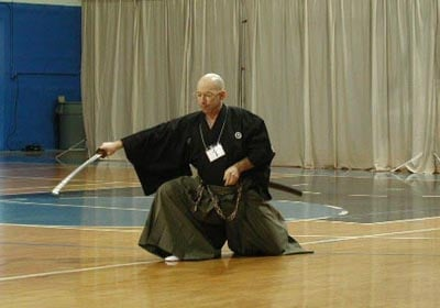 "2nd Annual Orlando Taikai 2001.  Kata: 4th dan and above category. Finishing up Eishin Ryu kata ""Yamaoroshi""."