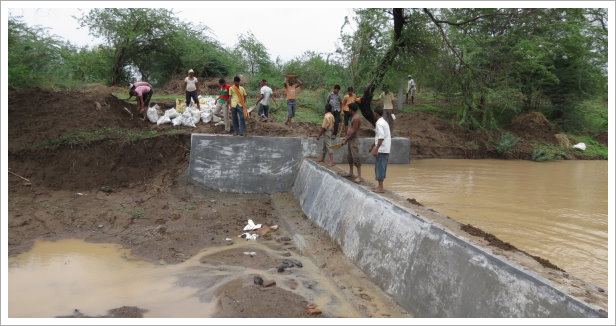 River dam and people    