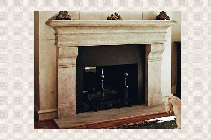 French Limestone Fireplace and Wall