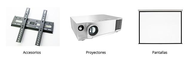 Proyectores, accesorios y pantallas