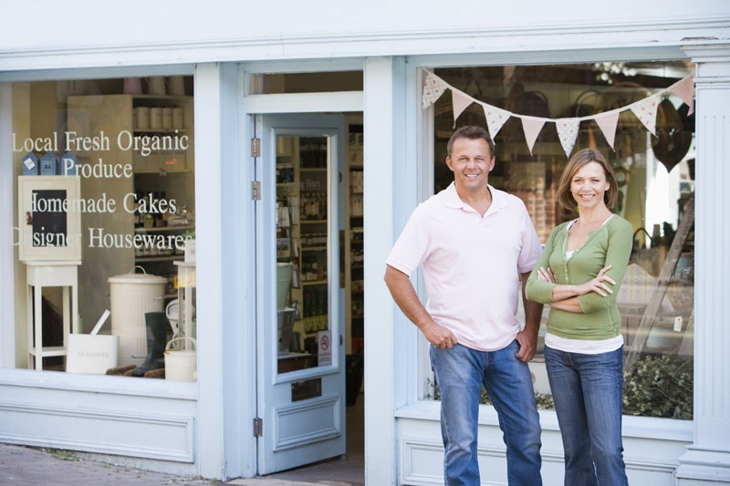Couple Standing in Front of Store
