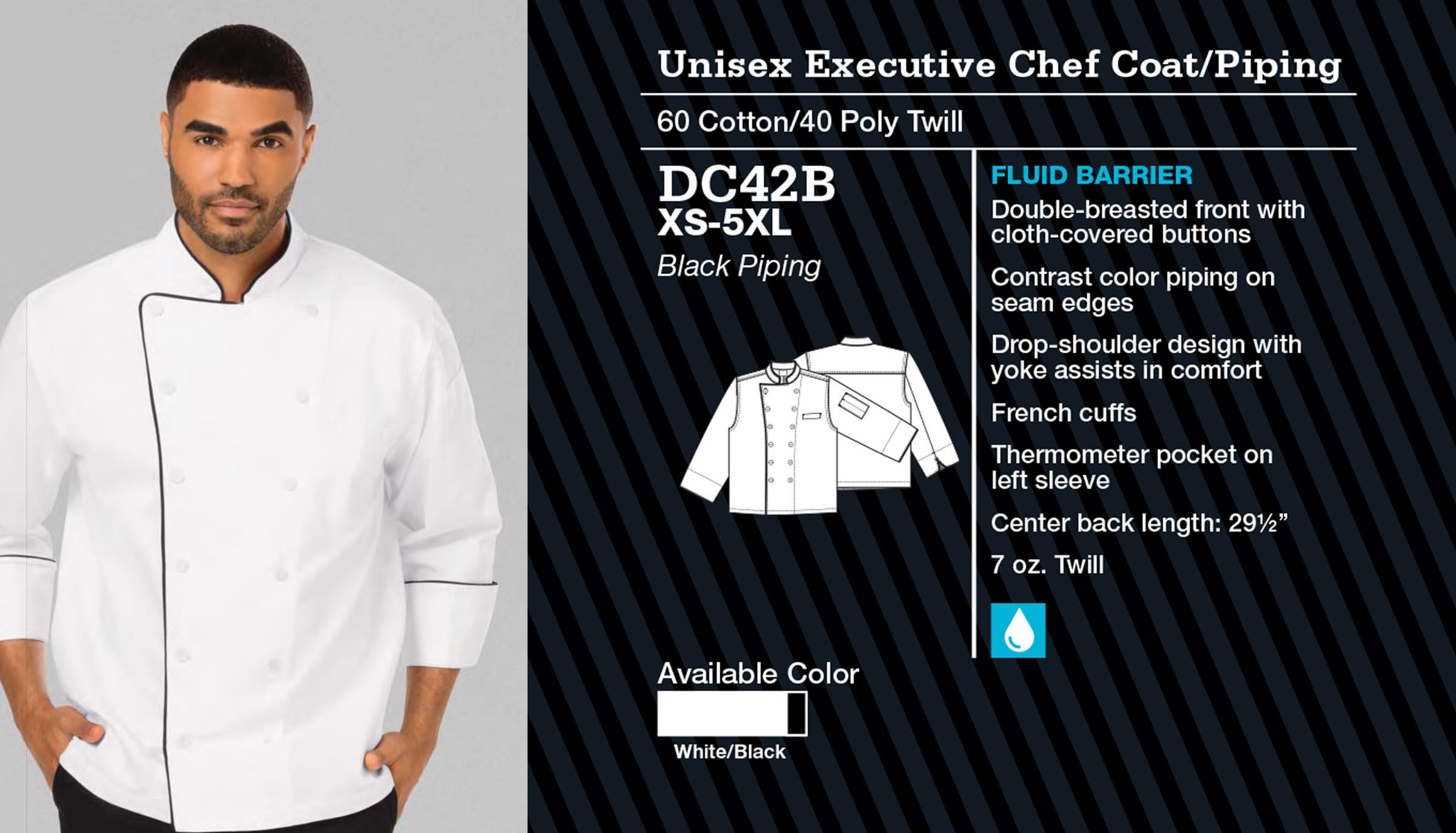 Abrigo de Chef Unisex Ejecutivo. DC41B.