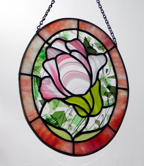 """Flower"" by Nataliya Guchenia Glass Size - 10""H X 7 1/2""W $150.00"