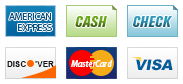 We accept American Express, Cash, Check, Discover, MasterCard and Visa.