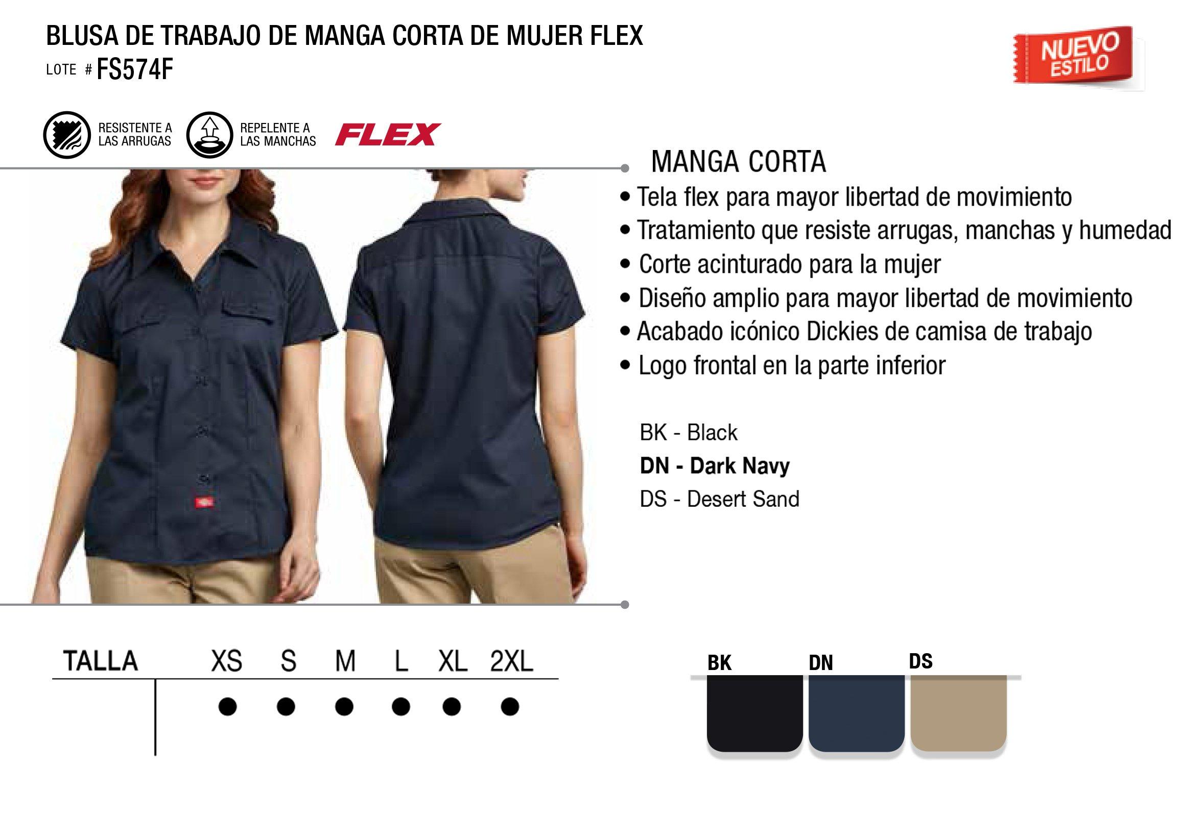 Blusa de Trabajo de Manga Corta de Mujer Flex. FS574F.