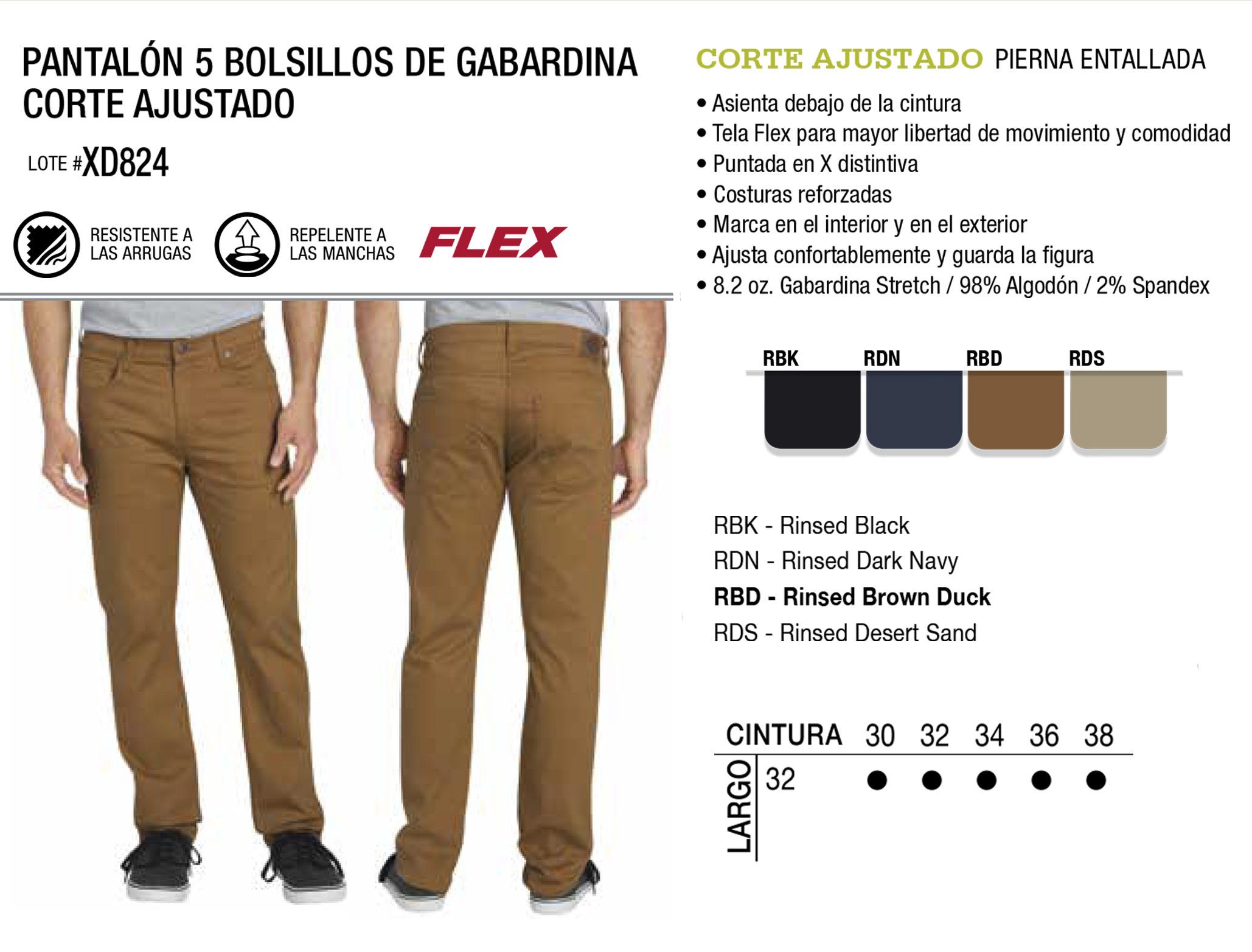 Pantalón 5 Bolsillos de Gabardina Corte Ajustado. Corte Ajustado. XD824.