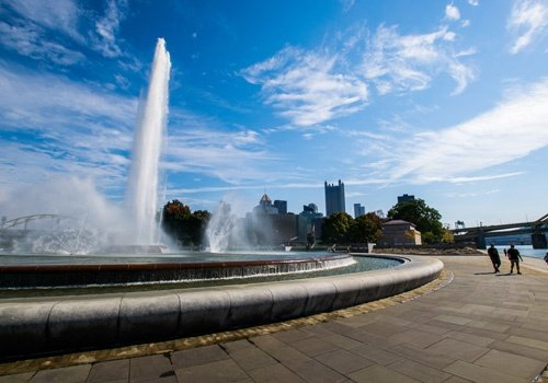 Summer Landscape of Point State Park Fountain in Pittsburgh