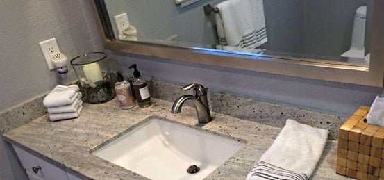 customer sink and vanity area