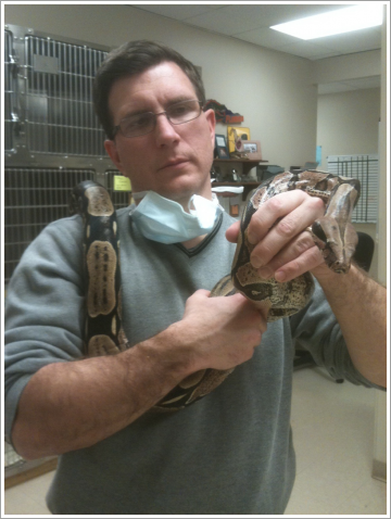 Dr. Huth holding the snake||||