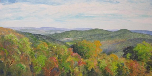 15. I-66 View East from St. Dominic's Monastery, near Linden, VA, 12x24 oil on panel
