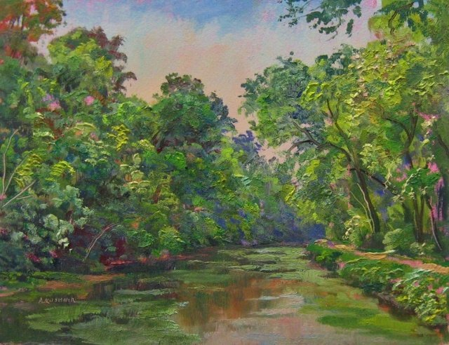 "Andrei Kushnir, Canal at Swains Lock, 6"" x 8"" Oil"