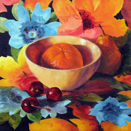 """Orange & Cherries-10"""" x 10""""    Oil on gallery wrapped canvas     SOLD"""