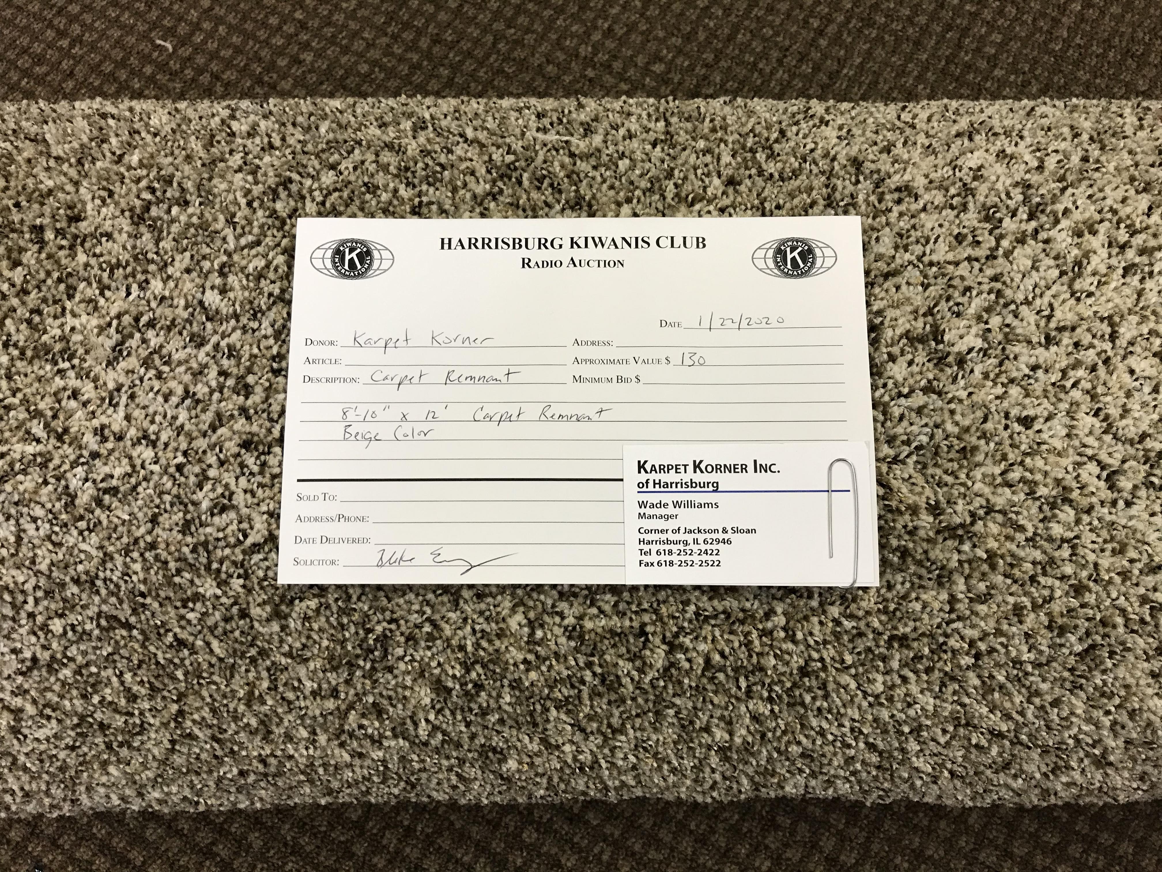 """Item 508 - Karpet Korner Beige  8'-10"""" x 12' Carpet Remnant"""