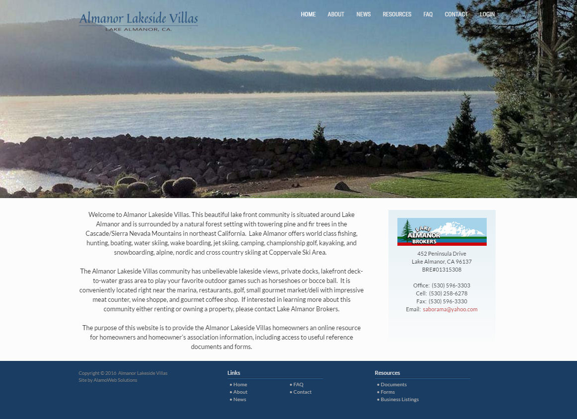 Almanor Lakeside Villas Website
