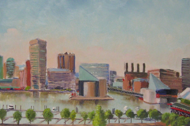 26. Baltimore Harbor, from Federal Hill Park, 8x12 oil on panel