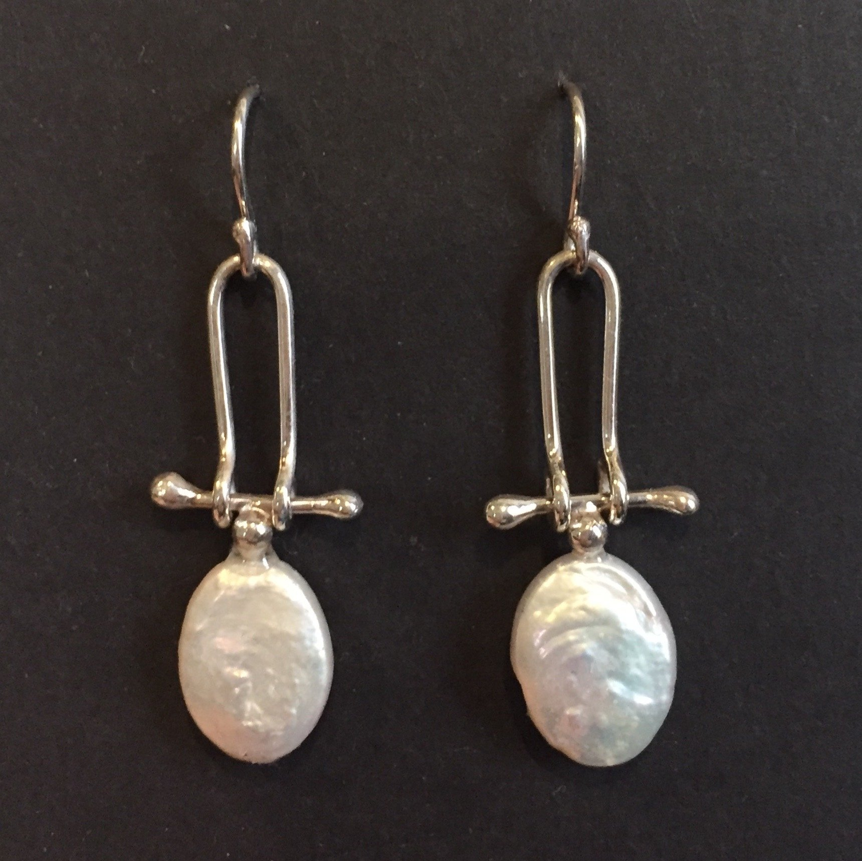 Pearl Tablet Earring sterling and pearl $85.