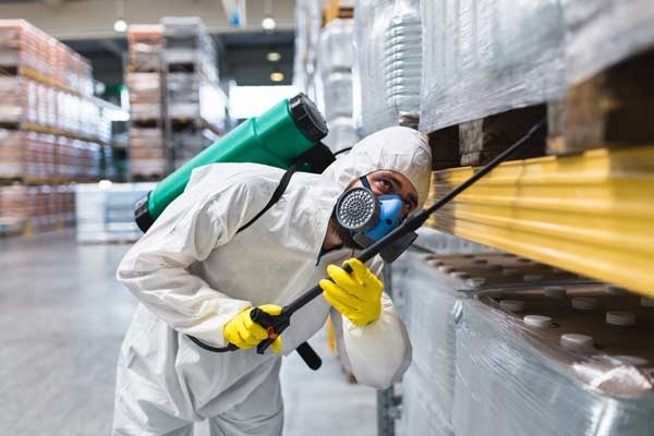 Pest Control Worker Spraying Pesticides in Manufacturing Factory