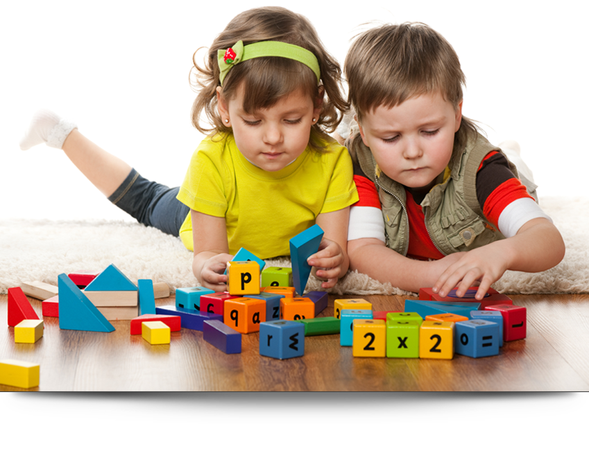 Kids playing with alphabet blocks||||