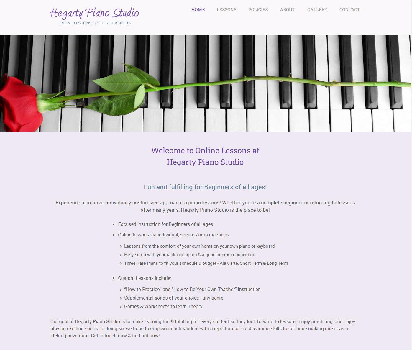 Hegarty Piano Studio Website