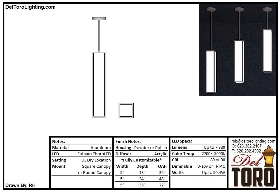 605P-Framed Square Column Pendant