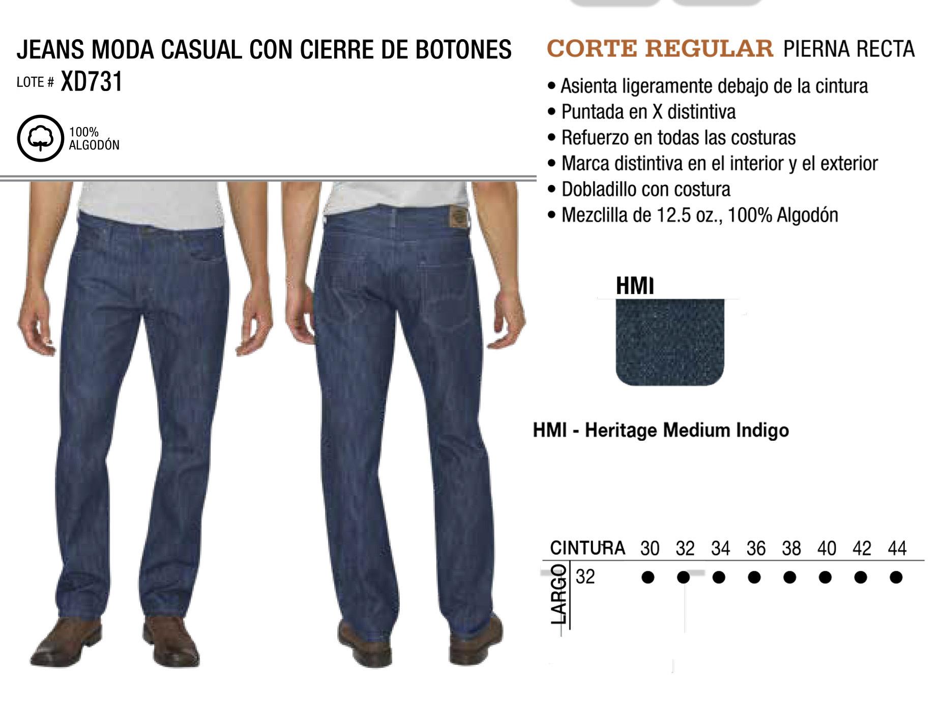Jeans Moda Casual con Cierre de Botones. Corte Regular. XD731