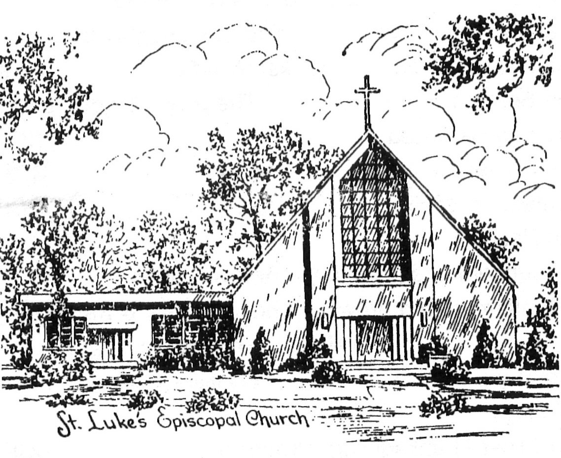 "Illustration of St. Luke's by the late Anne Connolly, former parishioner and ""resident artist."""