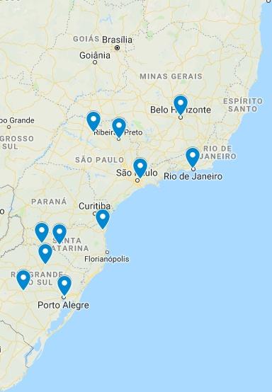 Porto Alegre/RS Santa Maria/RS Pelotas/RS Passo Fundo/RS Joaçaba/SC Chapecó/SC Joinville/SC Guarulhos/SP São José do Rio Preto/SP Ribeirão Preto/RS Belo Horizonte/BH Rio de Janeiro/RJ