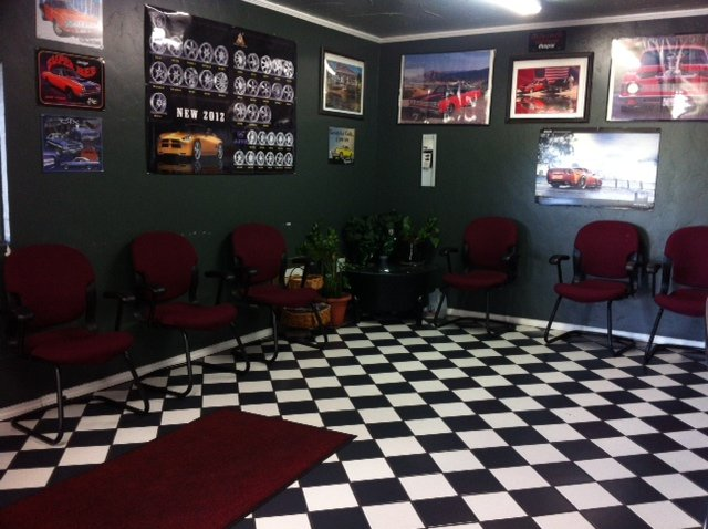 Inside of wheel alignment shop