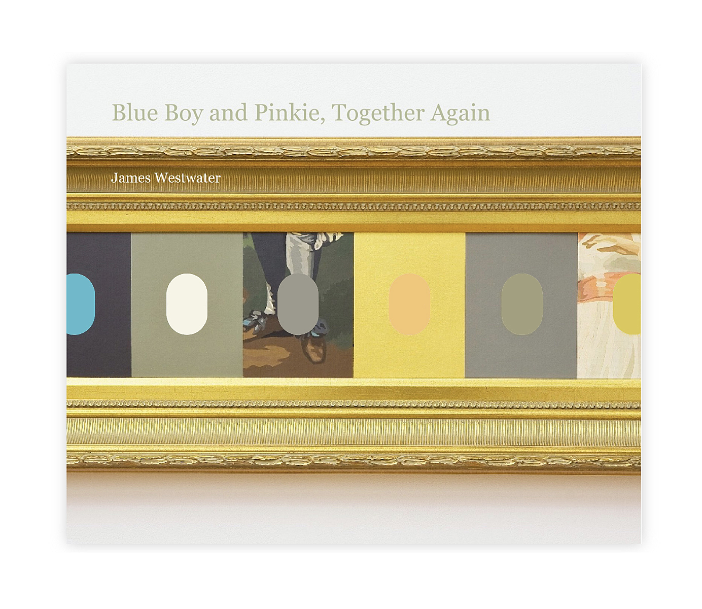 """Type reads, """"Blue Boy and Pinkie, Together Again,"""" over a gold framed painting."""