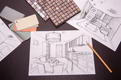 Interior Sketches of Bedroom, Living Room, Kitchen