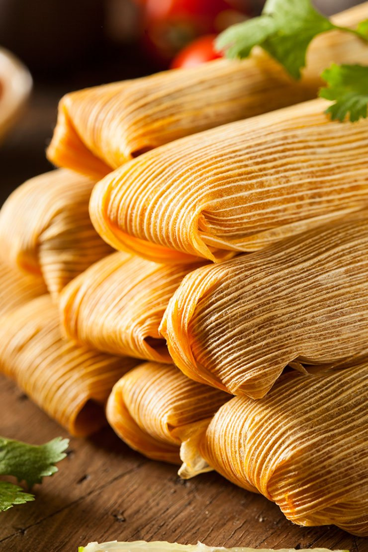 Homemade corn and chicken tamales