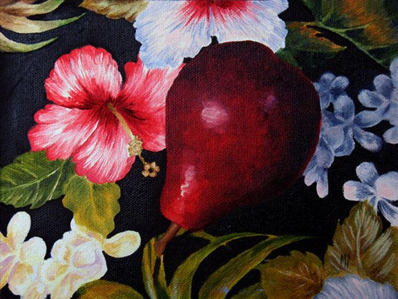 """Red Pear & Hibiscus - 6"""" x 8"""" Oil on panel"""