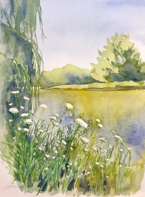 """Japanese House Garden Watercolor 10.5"""" X 13.5"""" 250."""