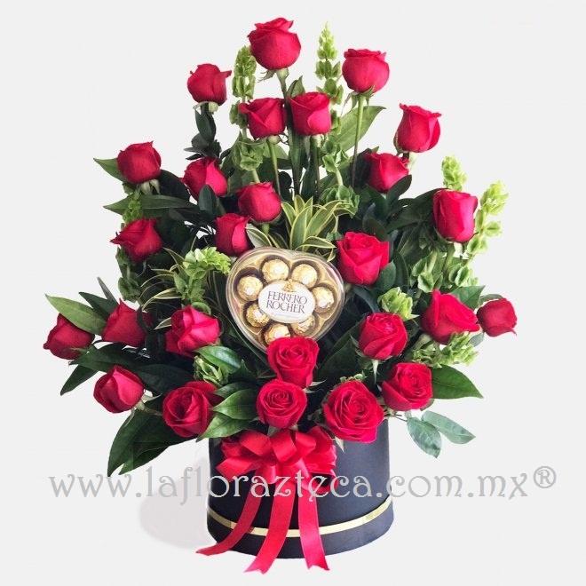 Caja redonda rosas