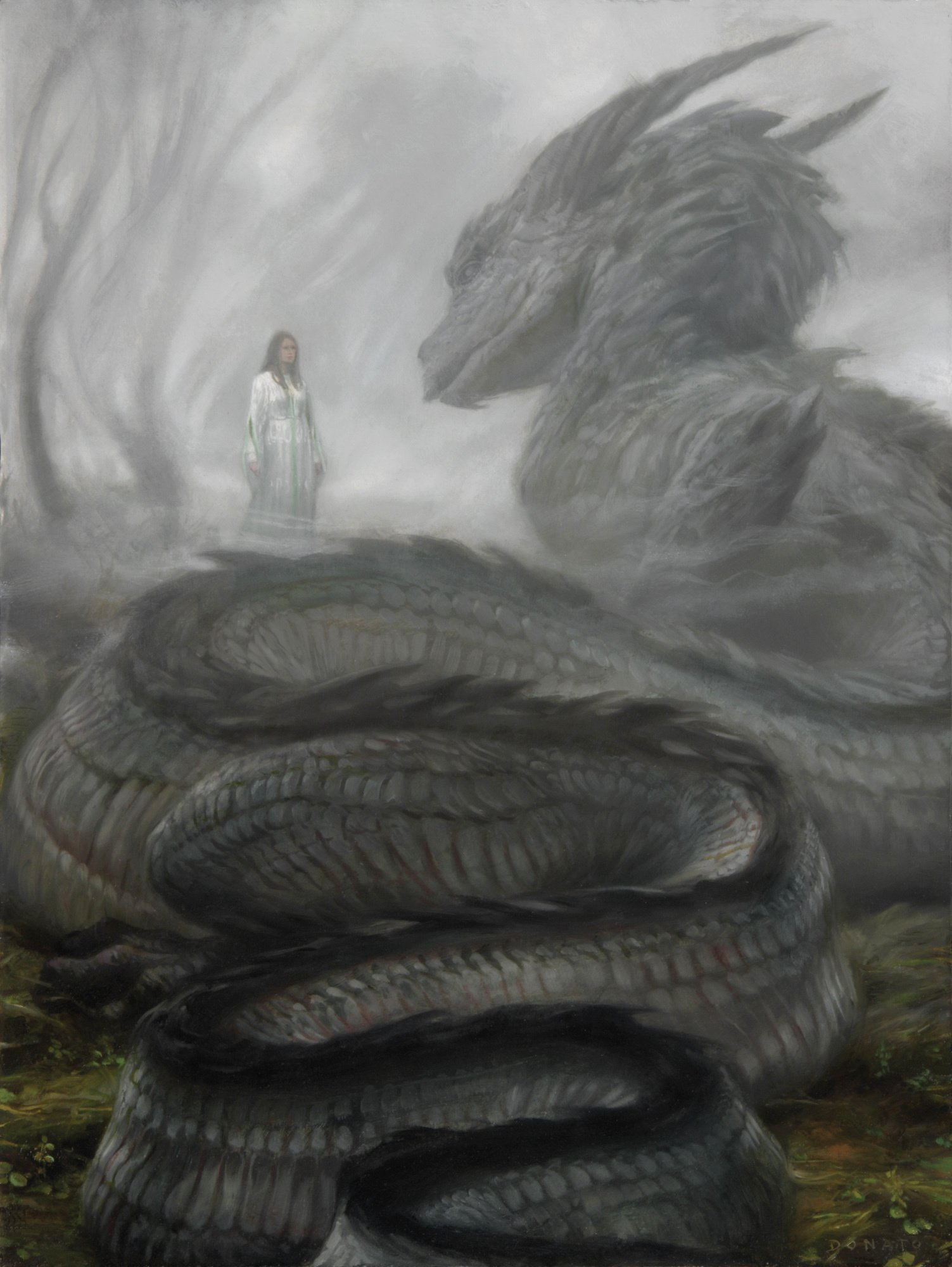 "Niënor and Glaurung - Forgetfulness 24"" x 18""  Oil on Panel  2012 from J.R.R. Tolkien's The Silmarillion private collection"