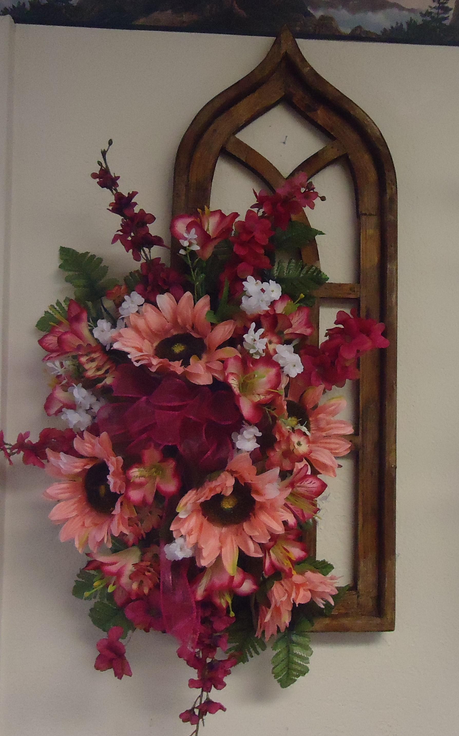 "(33)  ""Wall"" Decor W/ Silk Flowers $65.00"