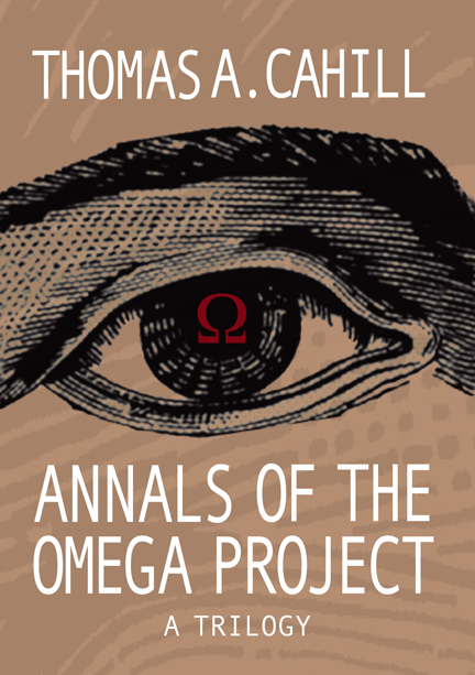 """Annals of the Omega Project"" book cover, showing an omega symbol reflected in the pupil of a human eye"