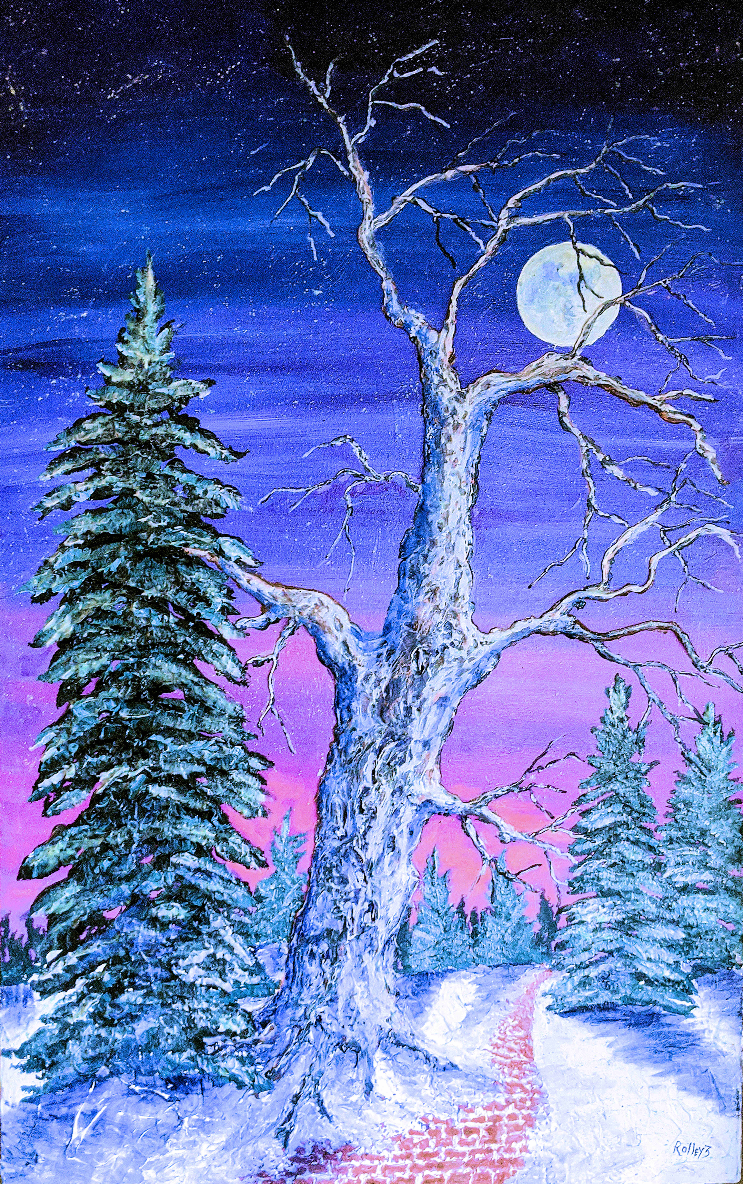 "WOODSTOCK WINTER WALK  24X48"". $1200.   HIGHLIGHTED WITH GLOW IN DARK LUMINESCENT PAINT"