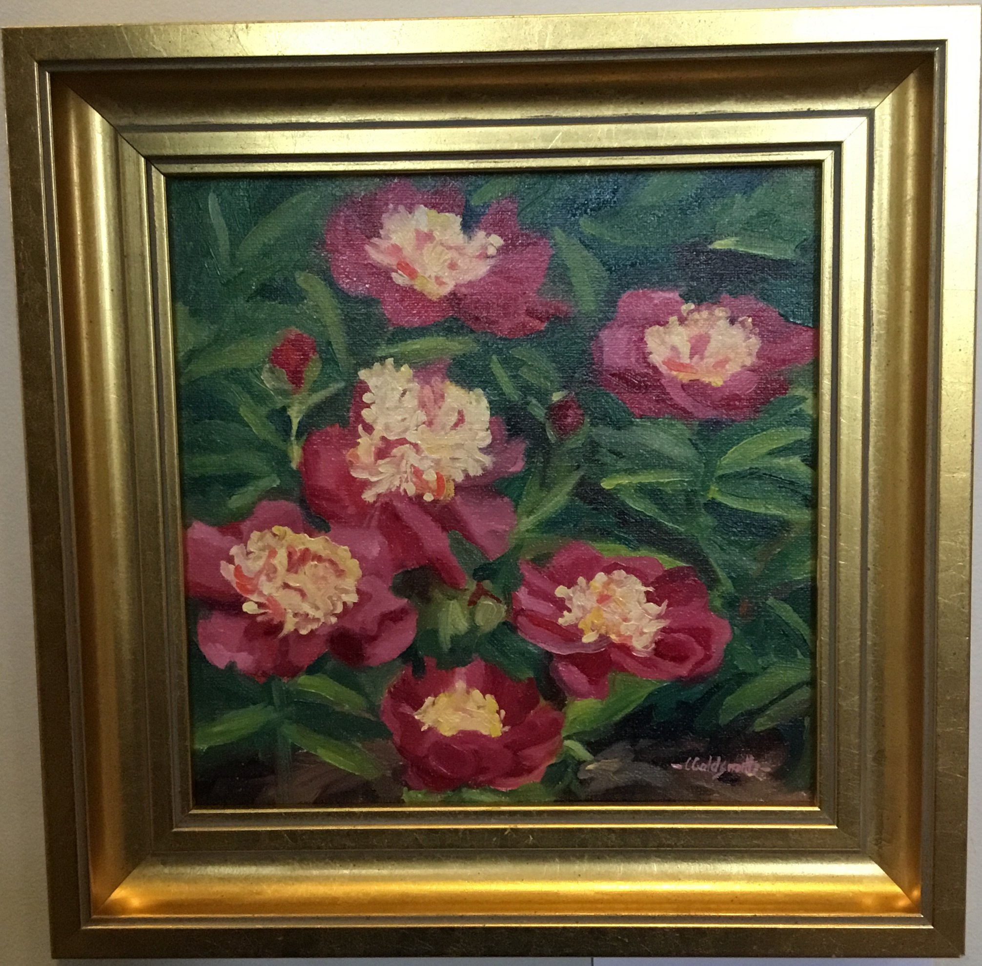 "Reine Supreme Peonies Oil on linen panel 8"" X 18"" $275."