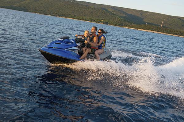 Family having fun on jet boat