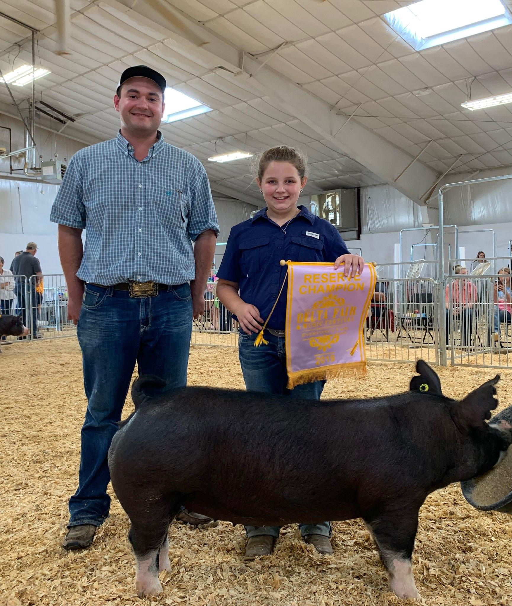 Ann Thomas Lowery 2019 Delta Fair & Music Festival Reserve Champion Berkshire Gilt (Day 2)