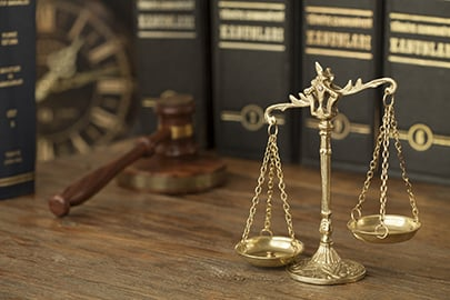 Gavel, Scales of Justice and Books