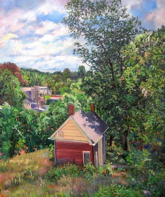 30. Ellicott City, Hot June Day, 24x20  oil on canvas
