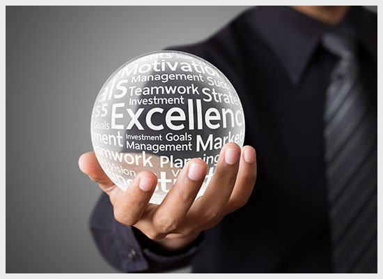 Showing Excellence Word in Crystal Ball