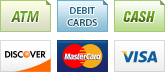 We accept ATM, Debit Cards, Cash, Discover, MasterCard and Visa.||||