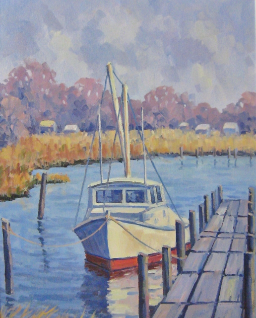 Fishing Boat, Drum Point, MD, 20 x 16 Oil